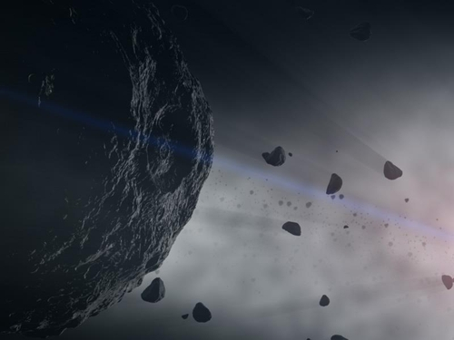 An asteroid disaster is considered as one of the principal sources of the solar system
