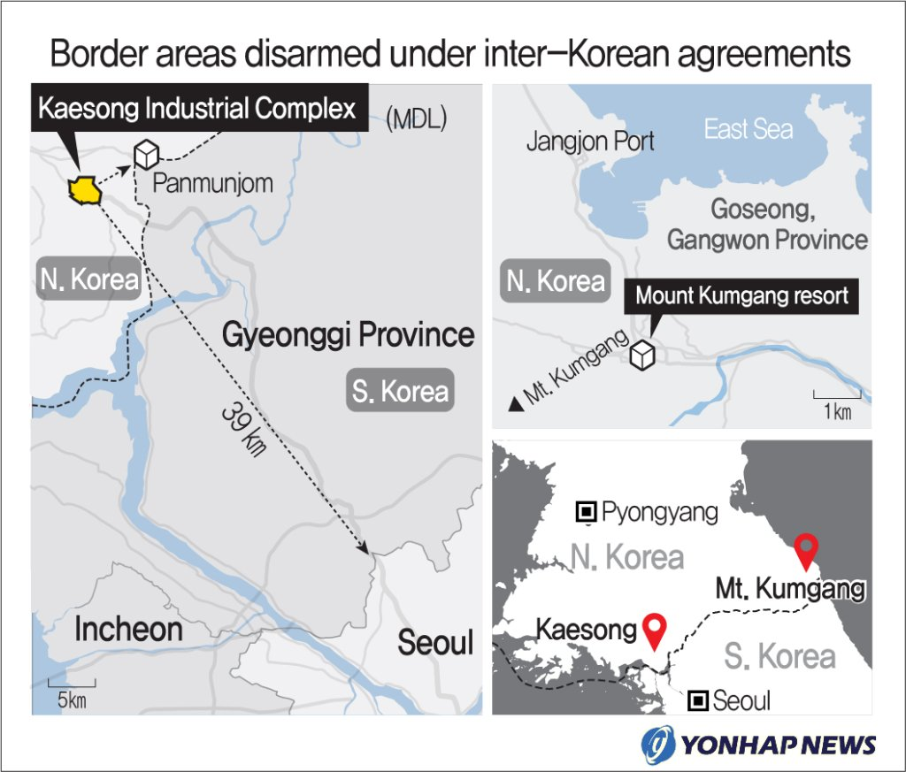 Border areas disarmed under inter-Korean agreements