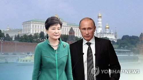 This graphic, provided by Yonhap News TV, shows President Park Geun-hye and her Russian counterpart Vladimir Putin. (Yonhap)