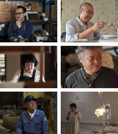 From top left (clockwise): Koh Bo-hyung, Kang Ki-ho, Pai Yon-shik, Oh Hwa-jin, Lee Bong-ju, and Park Mi-ok. These undated photos of these masterartisans are provided by the National Museum of Modern and Contemporary Art (MMCA), except for that of Oh Hwa-jin. (Yonhap)