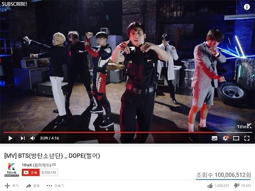 "A still image provided by Bangtan Boy's agency, Big Hit Entertainment, showing the accumulated view count of the music video for ""Dope."" (Yonhap)"