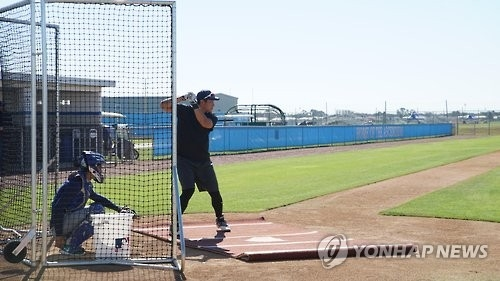 In this photo provided by GSI, South Korean baseball player Hwang Jae-gyun hits balls during his showcase event for Major League Baseball teams at the IMG Academy in Bradenton, Florida, on Nov. 21, 2016. (Yonhap)