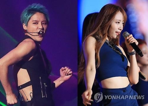 These photos show Junsu of JYJ (L) and Hani of EXID. (Yonhap)