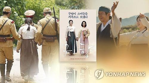 "This image, taken from Yonhap News TV, shows scenes from ""Spirits' Homecoming"" and a poster of the film. (Yonhap)"