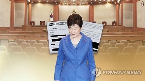 This image, provided by Yonhap News TV, shows President Park Geun-hye and the main room of the Constitutional Court in Seoul. (Yonhap)