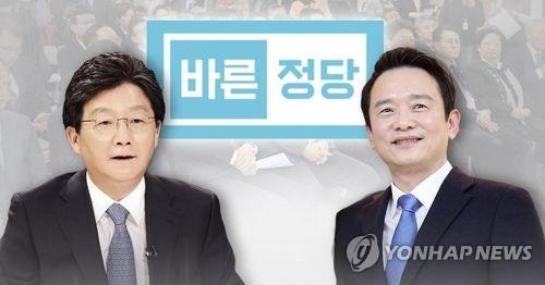 Rep. Yoo Seong-min (L) and Gyeonggi Gov. Nam Kyung-pil of the Bareun Party (Yonhap)