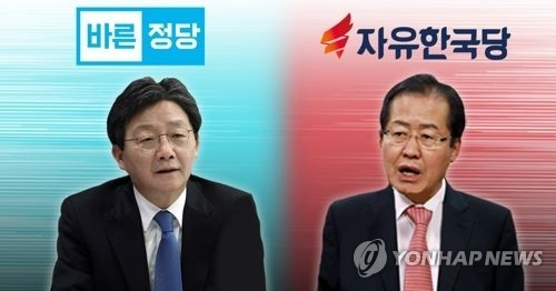 This image shows two conservative presidential contenders -- Yoo Seong-min (L) of the Bareun Party and Hong Joon-pyo of the Liberty Korea Party. (Yonhap)