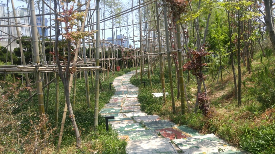 This photo, taken on June 2, 2017, shows concrete pieces that had formed the walls and floors of the Kiswire Co. factory from 1963 to 2008 reused as stepping stones in the bamboo garden of F1963. (Yonhap)