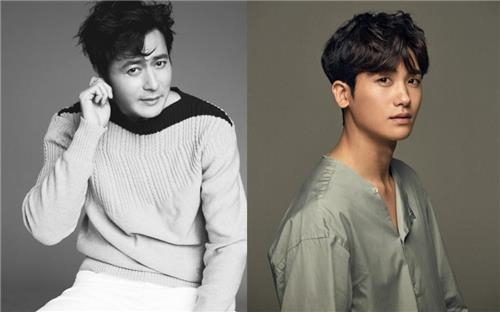 The photos provided by S.M. Culture & Contents and United Artist Agency (UAA) are of actors Jang Dong-gun (L) and Park Hyung-sik (R). (Yonhap)