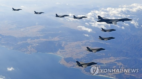 A B-1B Lancer bomber of the U.S. Air Force flies over Korea in formation with the allies' fighter jets on Dec. 6, 2017, in this photo provided by South Korea's Air Force. (Yonhap)