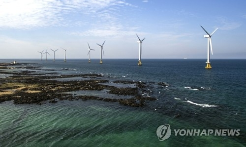 The Korea South-East Power Co. opens South Korea's first commercial wind power plant on the southern island of Jeju on Nov. 17, 2017. Wind turbines are shown in this photo provided by the state-run utility company. (Yonhap)