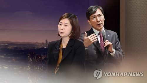 This graphic image, filed on March 7, 2018, shows former South Chungcheong Gov. An Hee-jung (R) and Kim Ji-eun, his secretary who has accused him of rape. (Yonhap)