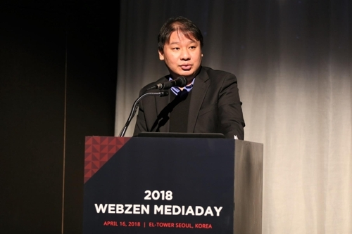 Kim Tae-young, CEO of WEBZEN Inc., talks to reporters in Seoul on April 16, 2018. (Yonhap)