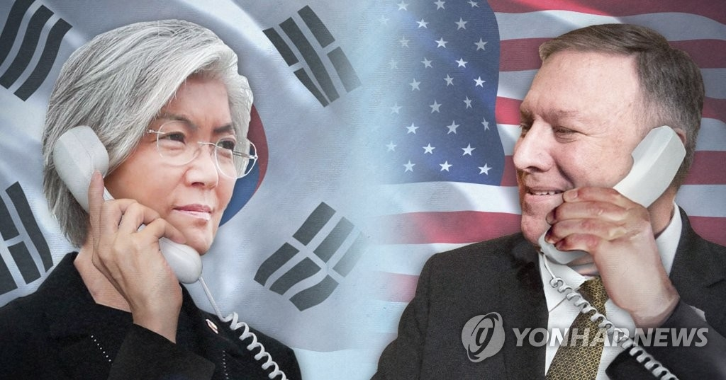 This image depicts phone talks between South Korean Foreign Minister Kang Kyung-wha (L) and U.S. Secretary of State Mike Pompeo. (Yonhap)