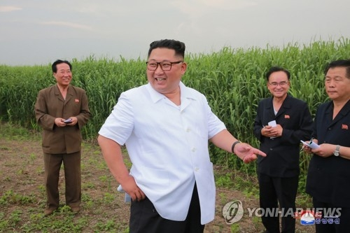 This photo, carried by North Korea's news agency on June 30, 2018, shows the North's leader Kim Jong-un (C) inspecting a reed farm in Sindo County near China. (For Use Only in the Republic of Korea. No Redistribution) (Yonhap)