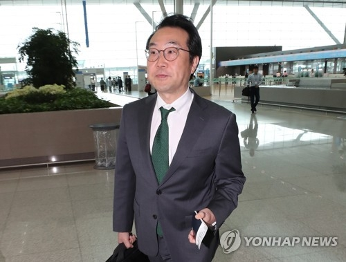 Lee Do-hoon, representative for Korean Peninsula peace and security affairs at South Korea's foreign ministry, leaves for Washington, D.C. on July 11, 2018. (Yonhap)