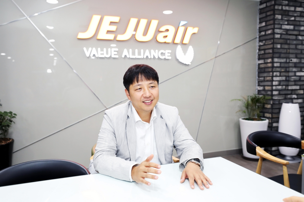 In this photo taken on July 13, 2018, Jeju Air CFO Kim Tae-yoon talks about the budget carrier's business plans and performance during an interview with Yonhap News at its headquarters in Gimpo, western Seoul. (Yonhap)