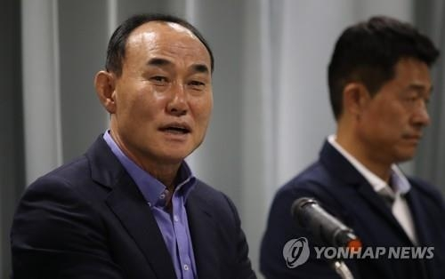 South Korea's under-23 national football team head coach Kim Hak-bum speaks at a press conference at the Korea Football Association (KFA) House in Seoul on Sept. 6, 2018. (Yonhap)
