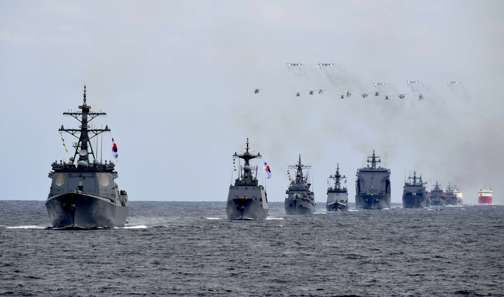 South Korean warships engage in a rehearsal of the International Fleet Review in waters off the southern island of Jeju on Oct. 9, 2018, in this photo provided by the Navy. (Yonhap)