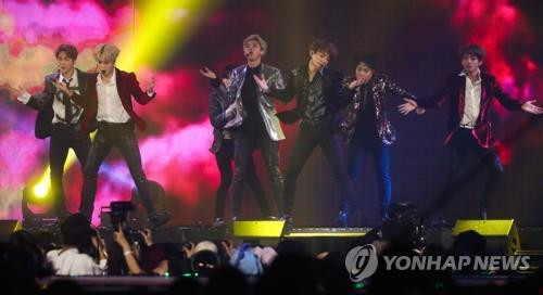 South Korean boy group BTS performs during the 2018 MBC Plus x Genie Music Awards in Incheon, west of Seoul, on Nov. 6, 2018, in this file photo. (Yonhap)