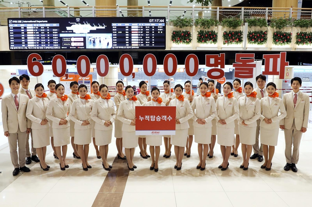 Jeju Air's total passenger traffic tops 60 mln
