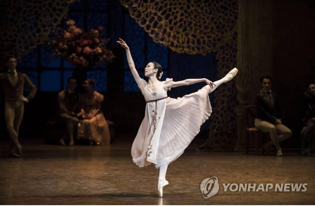 "In this undated photo provided by ballerina Park Sae-eun and taken by Isabelle Aubert, Park performs during ""Onegin"" at Palais Garnier. (Yonhap)"