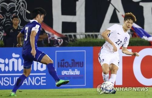 This file photo, taken on March 27, 2016, shows South Korea's Koh Myong-jin (R) passing the ball during a friendly match against Thailand in Bangkok. (Yonhap)