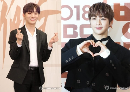 These images show Wanna One members Yoon Ji-sung (L) and Kang Daniel. (Yonhap)