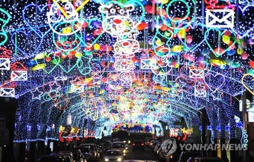 A street decked with lanterns in the shape of sancheoneo (Yonhap)