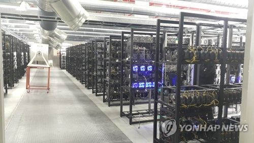 This undated provided photo shows a computer room where the mining of digital currencies is done. (Yonhap)