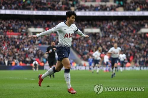 In this AFP photo, Tottenham Hotspur's South Korean forward Son Heung-min celebrates after scoring his team's third goal during the English Premier League football match between Tottenham Hotspur and Leicester City at Wembley Stadium in London on February 10, 2019. (Yonhap)
