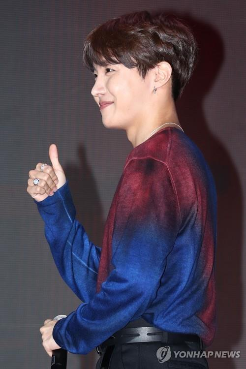 This photo shows BTS member J-Hope during a press conference on April 17, 2019 (Yonhap)