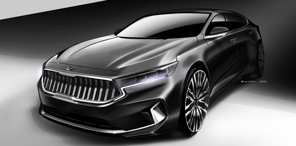 This rendering provided by Kia on June 3, 2019, shows the face-lifted K7 sedan to be released in the domestic market in the coming weeks. (Yonhap)