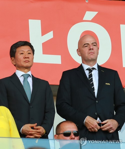 This undated file photo shows Korea Football Association (KFA) President Chung Mong-gyu (L) and FIFA President Gianni Infantino. (Yonhap)