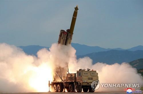 This photo carried by the Korean Central News Agency on Aug. 25, 2019, shows a new super-large multiple rocket launch system tested the previous day. (For Use Only in the Republic of Korea. No Redistribution) (Yonhap)