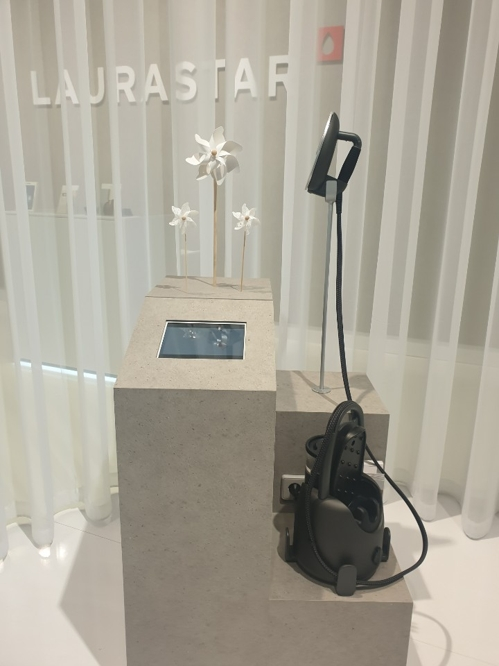 Laurastar's steam ironing system Lift is on display at its booth at the IFA technology show held in Berlin from Sept. 6-11, 2019. (Yonhap)