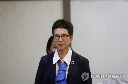 This EPA photo shows Ursula Mueller, Assistant Secretary-General for Humanitarian Affairs and Deputy Emergency Relief Coordinator of the United Nations Office for the Coordination of Humanitarian Affairs (OCHA) on May 13, 2019. (Yonhap)