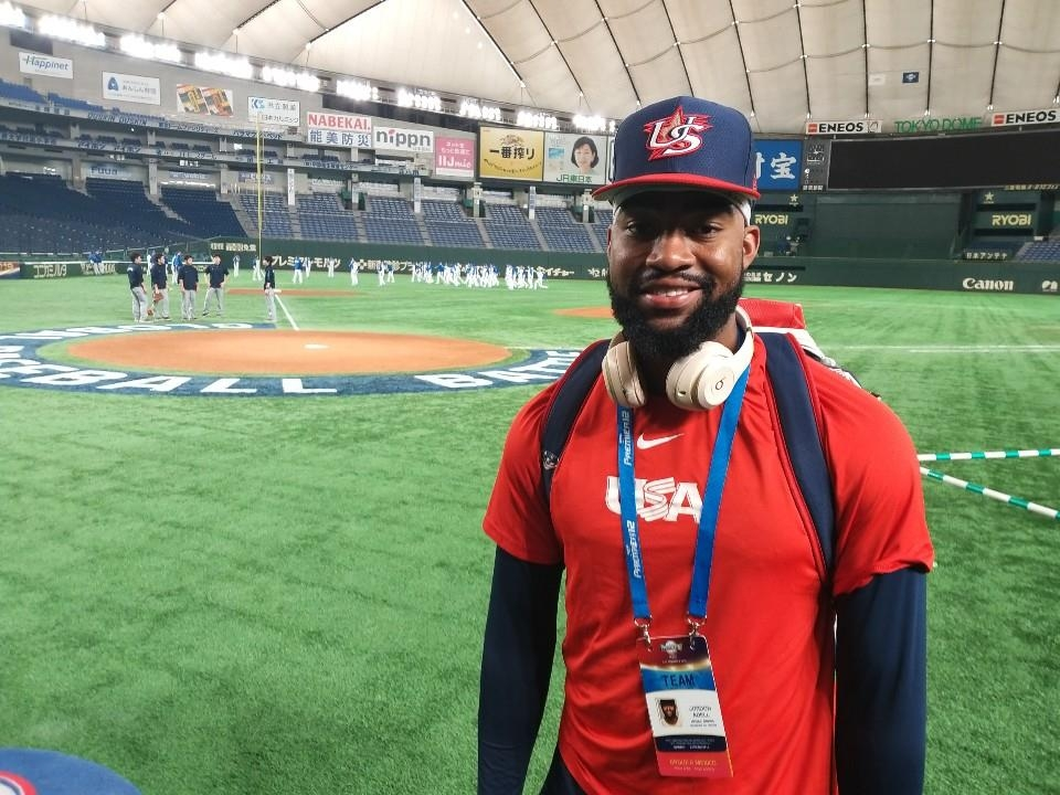 Jo Adell, an outfielder for the United States competing at the World Baseball Softball Confederation (WBSC) Premier12, poses for a photo following an interview with Yonhap News Agency at Tokyo Dome in Tokyo on Nov. 14, 2019. (Yonhap)
