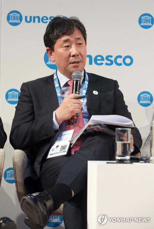 This photo of Culture Minister Park Yang-woo during the UNESCO Forum of Ministers of Culture on Nov. 19, 2019, was provided by the Ministry of Culture, Sports and Tourism. (PHOTO NOT FOR SALE) (Yonhap)