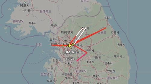 This image, captured from Aircraft Spots, an aviation tracker, shows the movement of a U.S. reconnaissance plane over the Korean Peninsula. (PHOTO NOT FOR SALE) (Yonhap)