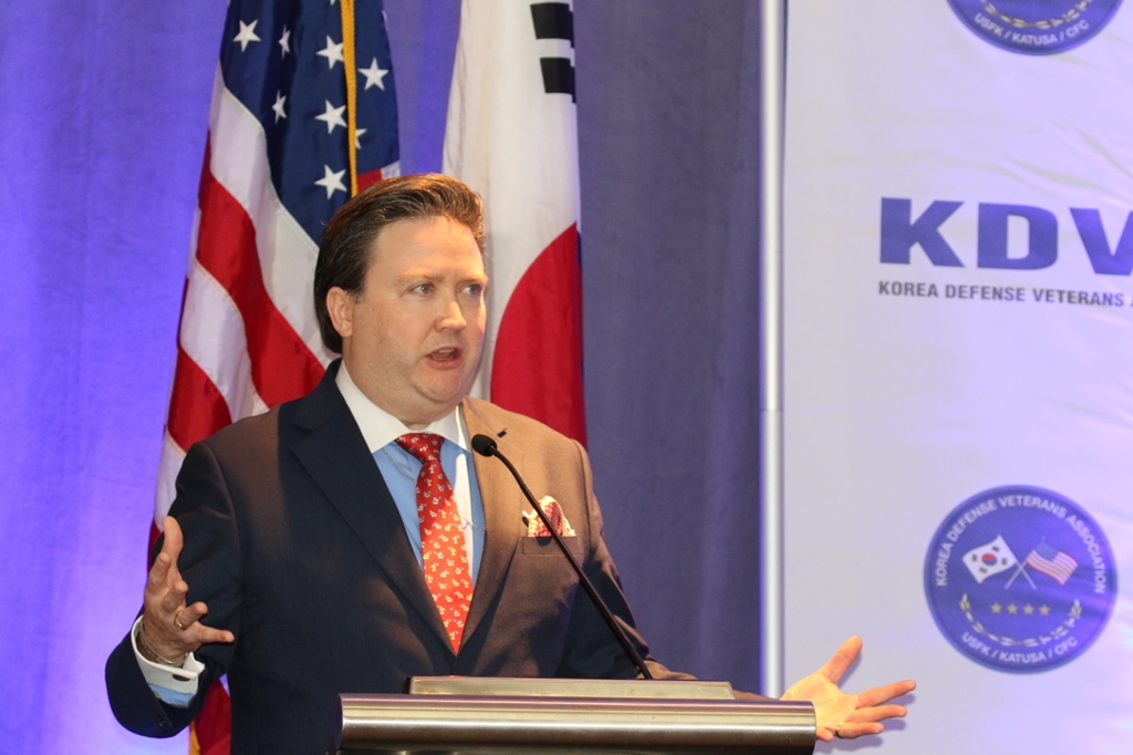 This photo shows Marc Knapper, U.S. deputy assistant secretary of state for Korea and Japan, speaking at a conference on the South Korea-U.S. alliance at the Mayflower Hotel in Washington on Dec. 4, 2019. (Yonhap)