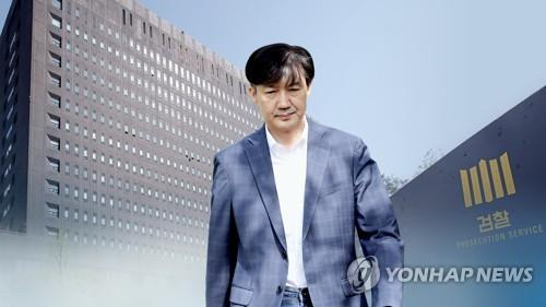 An image showing former Justice Minister Cho Kuk against the prosecution office in southern Seoul. (Yonhap)