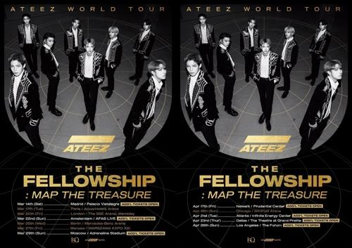 "This promotional image for Ateez's upcoming world tour, ""The Fellowship: Map The Treasure,"" was provided by KQ Entertainment. (PHOTO NOT FOR SALE) (Yonhap)"