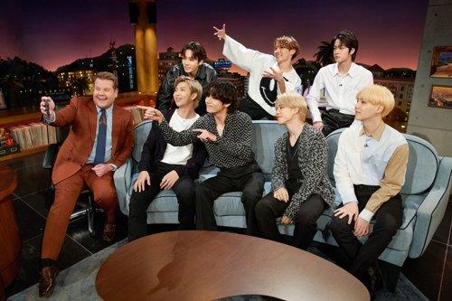 "This photo of BTS' appearance on ""The Late Late Show with James Corden"" on Jan. 29, 2020, was provided by Terence Patrick via Big Hit Entertainment. (PHOTO NOT FOR SALE) (Yonhap)"