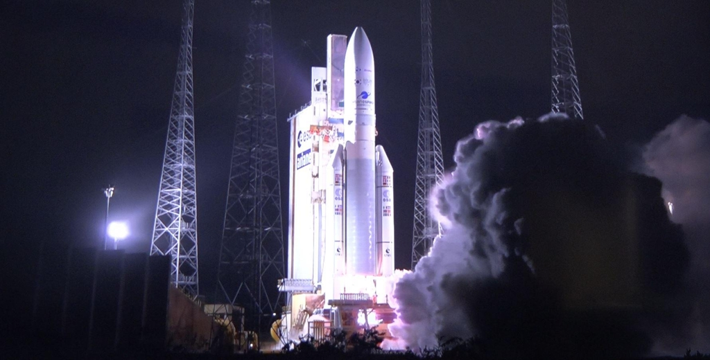 This photo provided by the Ministry of Science and ICT shows the Ariane-5 rocket carrying the Chollian-2B lifting off from the Guiana Space Center in South America at 07:18 p.m. Feb. 18, 2020 (local time). (PHOTO NOT FOR SALE) (Yonhap)