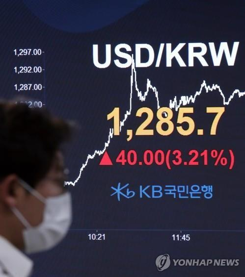 A currency dealer walks past an electronic signboard in the dealing room of KB Kookmin Bank in Seoul on March 19, 2020. The Korean won closed at 1,285.7 won to the U.S. dollar, the lowest in over a decade. (Yonhap)