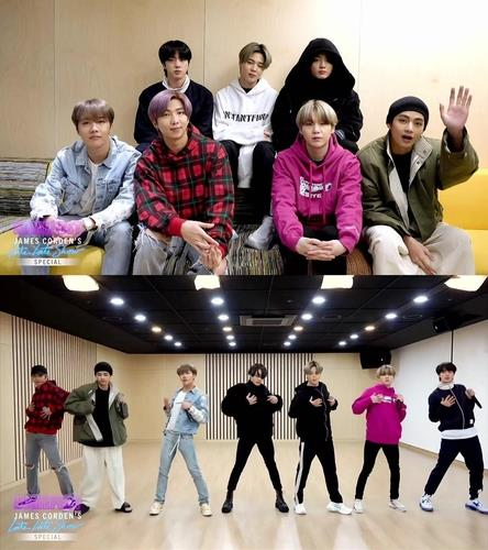 "These images, captured from ""The Late Late Show with James Corden"" that aired on March 30, 2020 (U.S. time), were provided by Big Hit Entertainment. (PHOTO NOT FOR SALE) (Yonhap)"