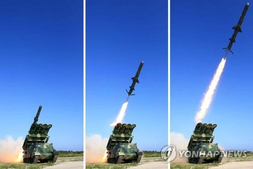 These photos published by the North's daily Rodong Sinmun on June 9, 2017, show the launch of the country's new surface-to-ship cruise missile. The report said leader Kim Jong-un observed the missile launch, which South Korea detected a day earlier. (For Use Only in the Republic of Korea. No Redistribution) (Yonhap)
