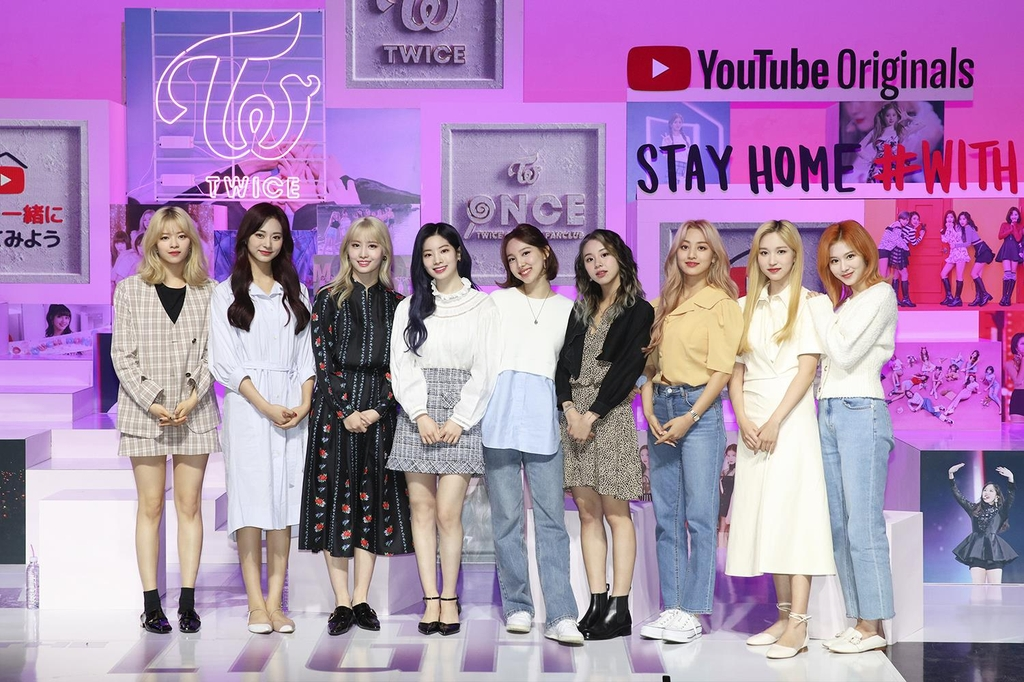 An image of TWICE during an online streaming event on April 28, 2020, provided by JYP Entertainment (PHOTO NOT FOR SALE) (Yonhap)