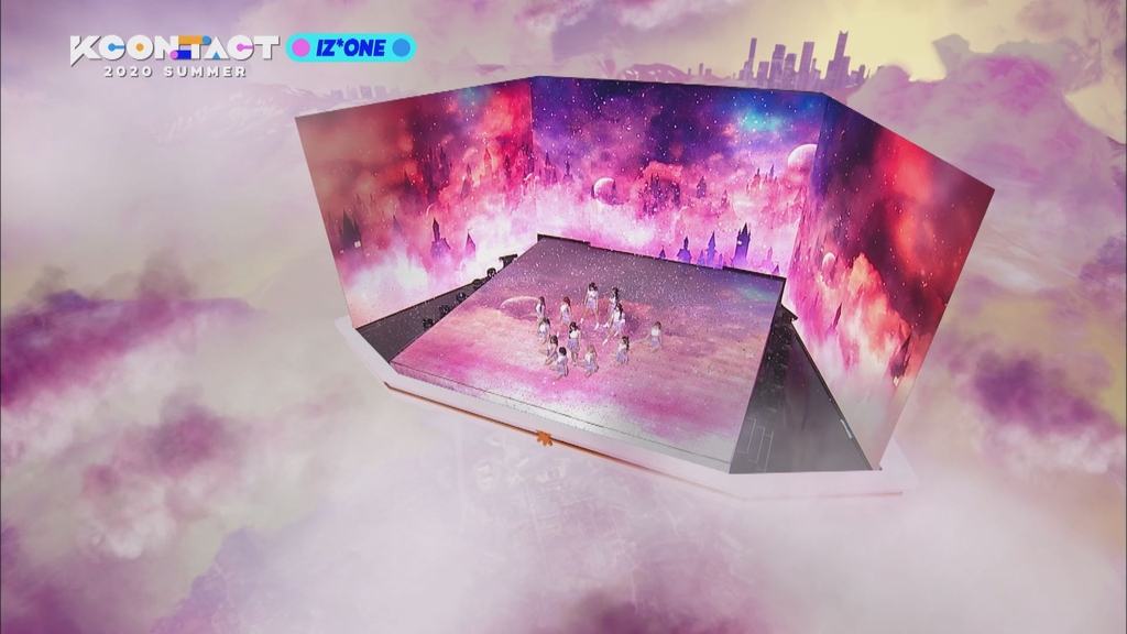 This image proved by CJ ENM on June 29, 2020, shows a performance highlight of K-pop girl group IZ*ONE during KCON:TACT 2020 Summer incorporating augmented reality technology. (PHOTO NOT FOR SALE) (Yonhap)